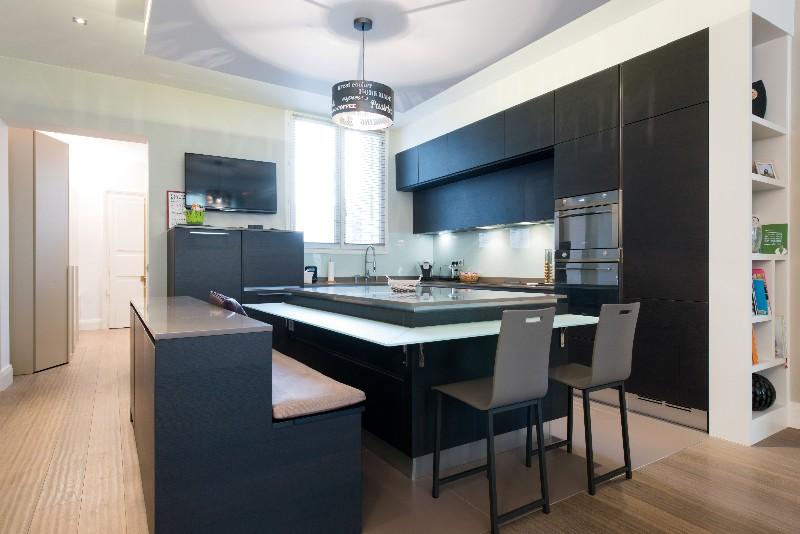 Cuisine ged cucine ouverte sur salon avec lot central paris - Cuisine ouverte avec ilot central ...