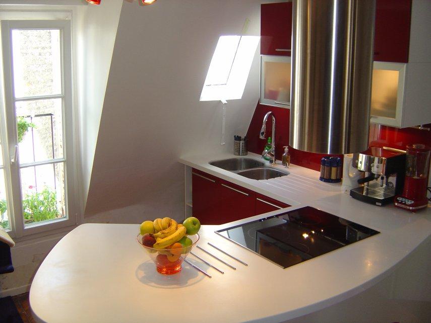 Cuisine rouge et blanc par l 39 architecte d 39 interieur for Architecte cuisine