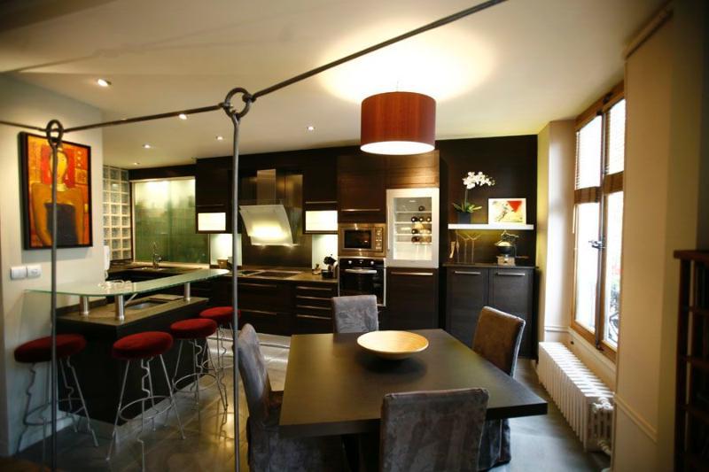 Chambre Gris Rose Bebe :  projet de rénovation d'une cuisine ouverte sur séjour très Déco